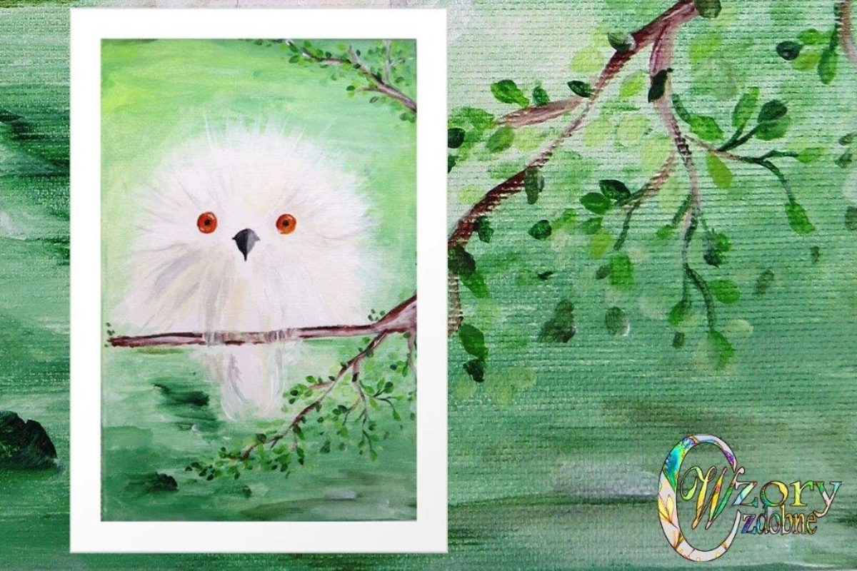 White owl in a green forest